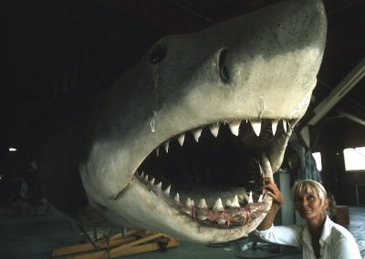 Valerie with 'Bruce' the mechanical Great White during the filming of JAWS.